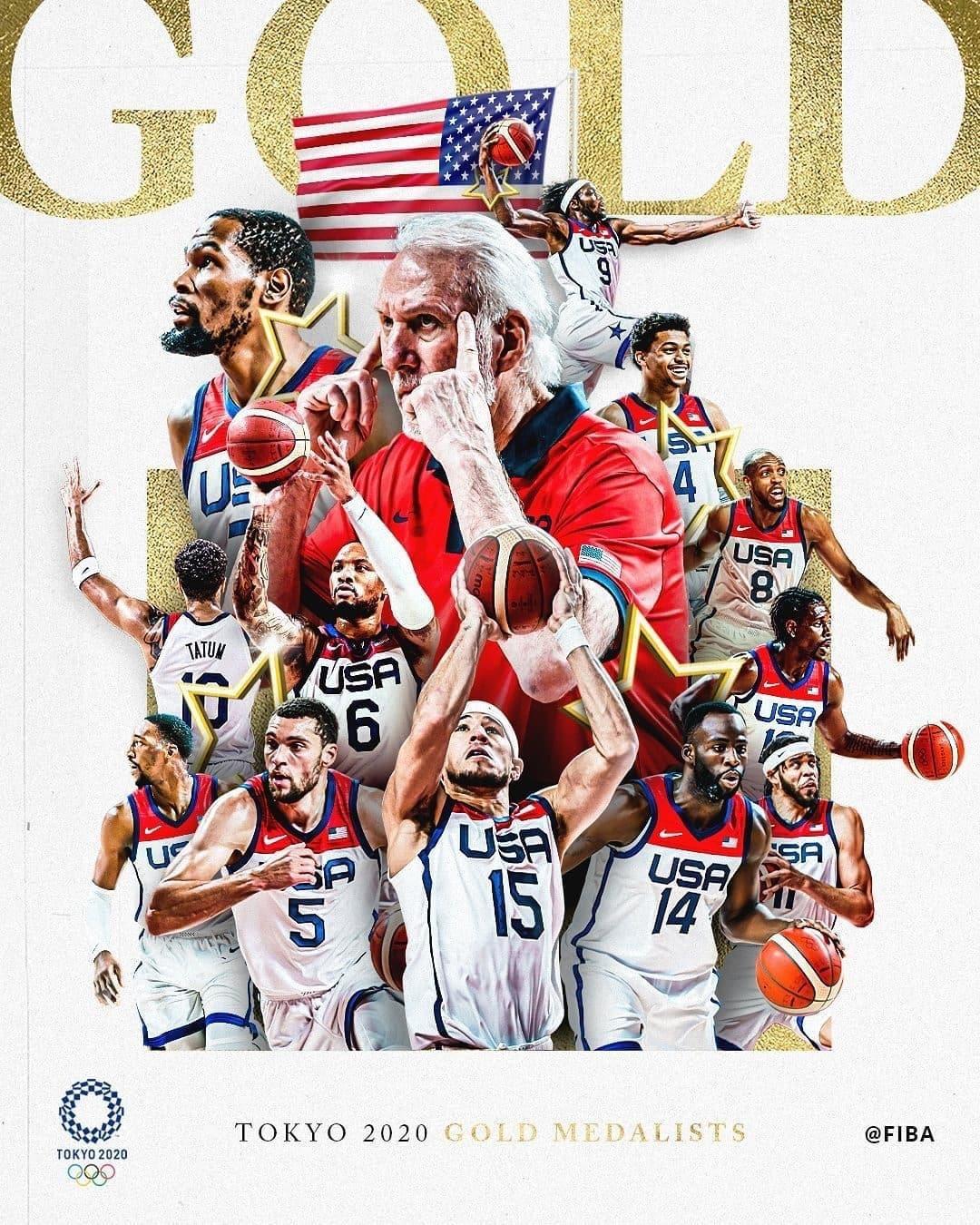 恭喜 美國隊奪下東京奧運男籃金牌!KD扮演扛壩子復仇法國成功。